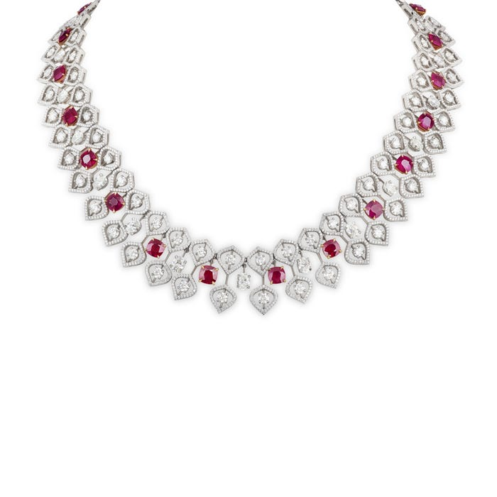 Ruby and White Diamonds Necklace