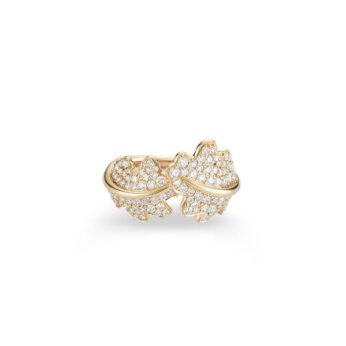 Oak Leaf Crossover Woodland Ring 18ct Yellow Gold