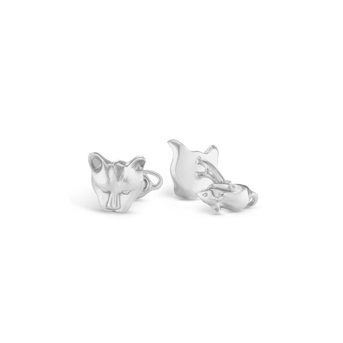 Cat & Mouse Cufflinks, Silver