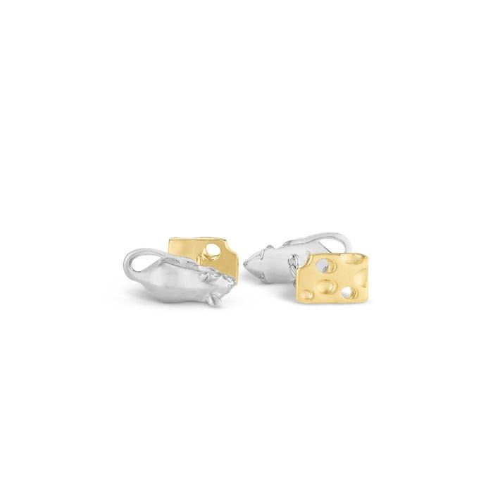 Mouse & Cheese Cufflinks, Silver