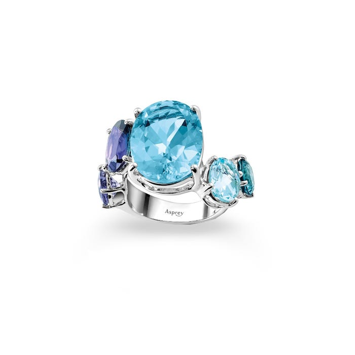 Colour Chaos Ring 18ct White Gold, Blue