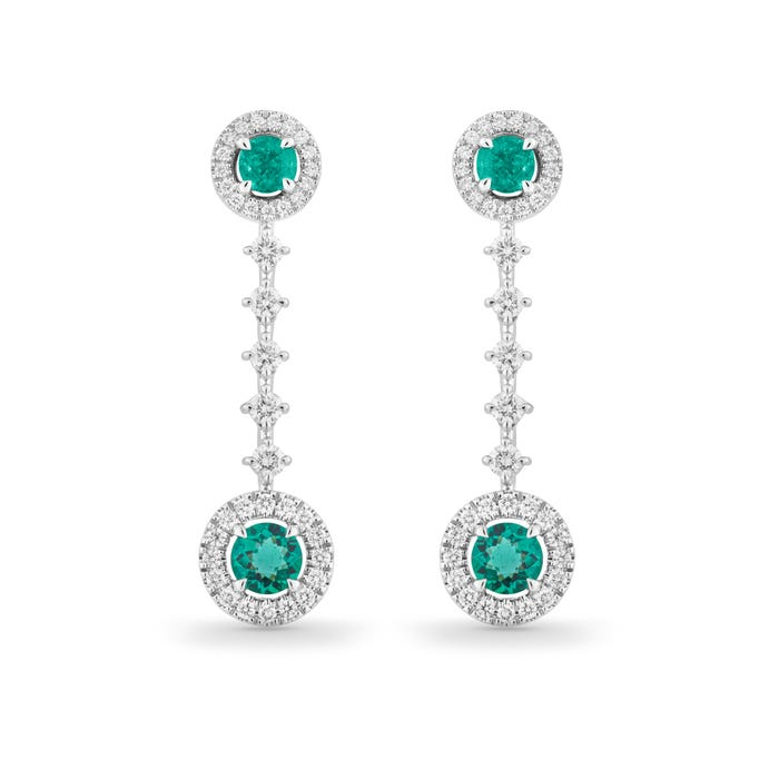 Emerald and Diamond Drop Earrings mounted in Platinum