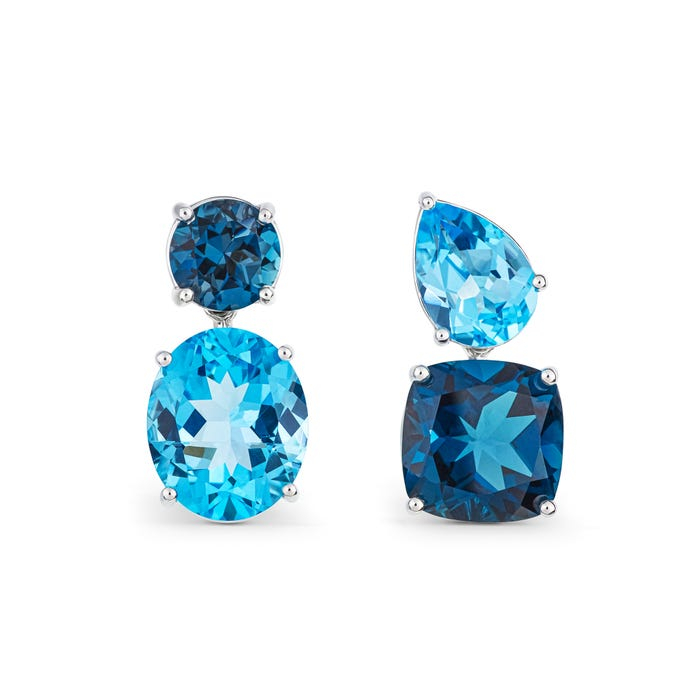 Blue Chaos Earrings, 18ct White Gold