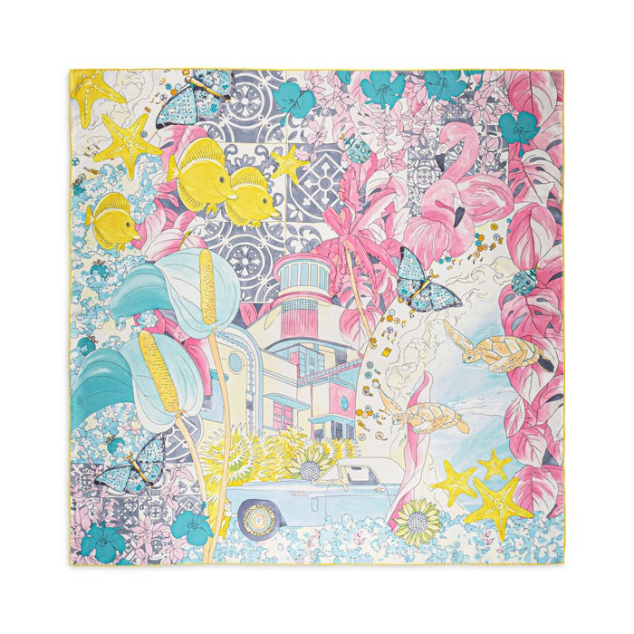 Tropical Charms Silk Scarf Candy