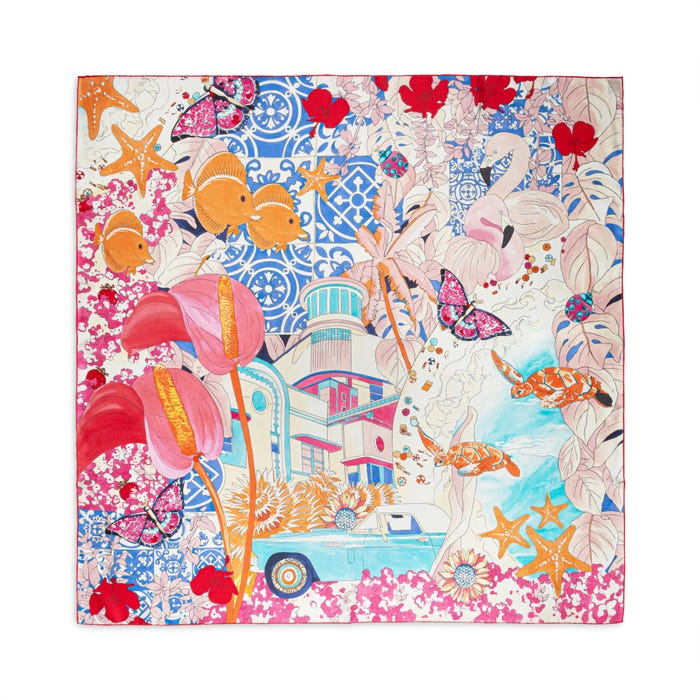 Tropical Charms Silk Scarf Pink & Blue