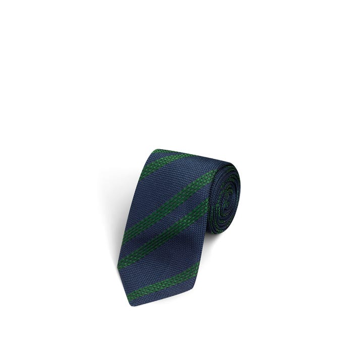 Large Stripes Navy and Green Tie