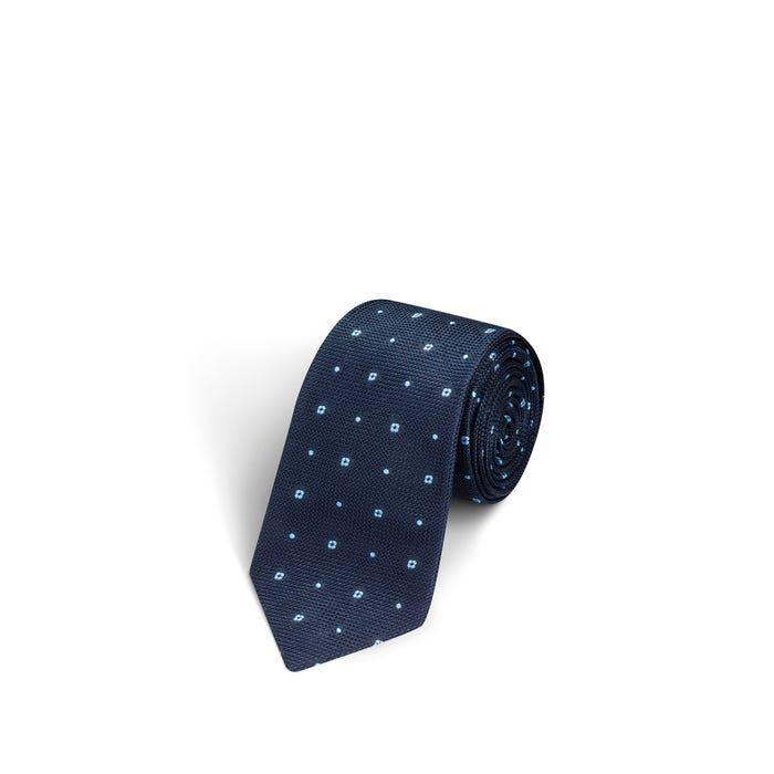Flower and Dot Navy and Bright Blue Tie