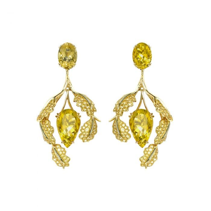 Woodland Colour Earrings, 18ct Yellow Gold