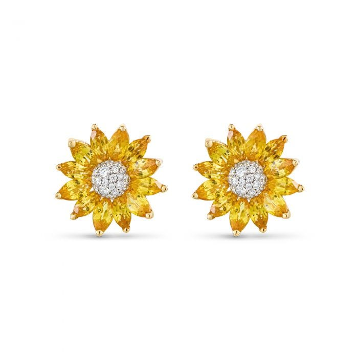 Daisy Heritage Small Earrings, Yellow Sapphire and White Diamond