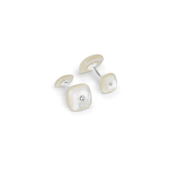 Cushion Shaped Cufflinks Mother of Pearl, Silver
