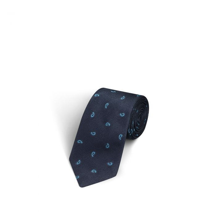 Small Paisley Dark Navy and Teal Tie