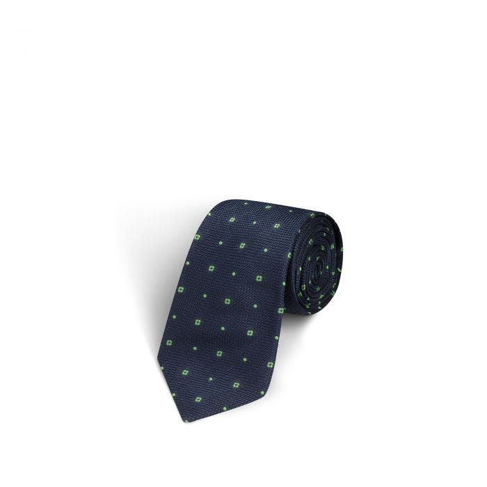Flower and Dot Navy and Smeraldo Tie