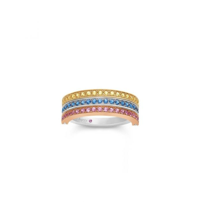 Flip Ring in Yellow, Blue & Pink Sapphire
