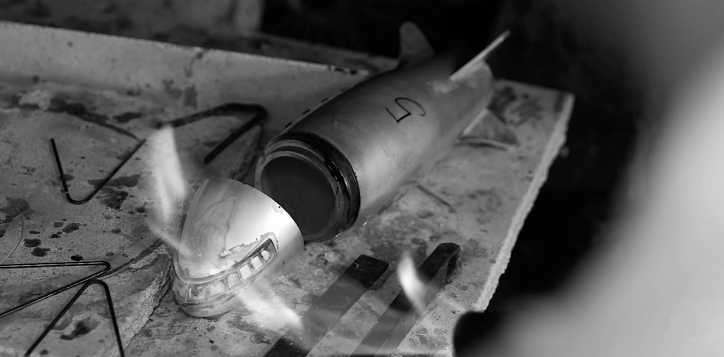The Asprey Aeroplane cocktail shaker being made in the silver workshops