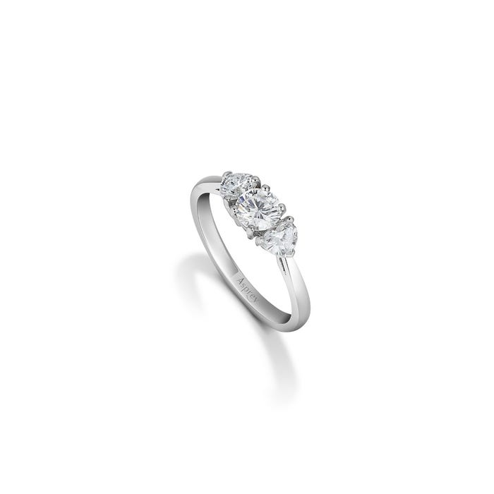Round Brilliant Cut Diamond Ring with Heart Side Stones