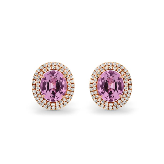 Oval Pastel Pink Spinel and Diamond Earrings, Rose Gold