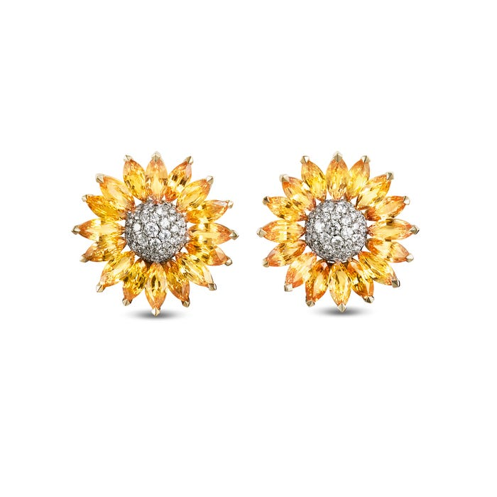 Daisy Heritage Earrings, Yellow Sapphire