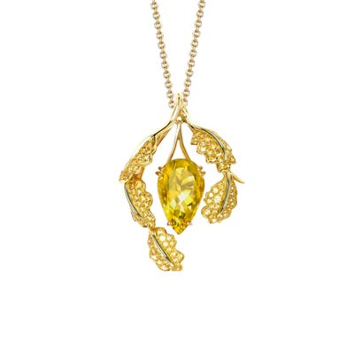 Woodland Colour Pendant, 18ct Yellow Gold
