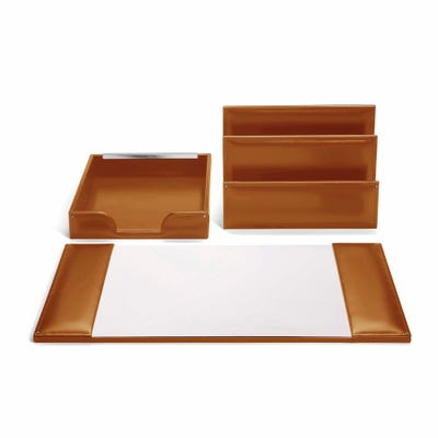 Hanover Desk Top Set in Saddle Leather