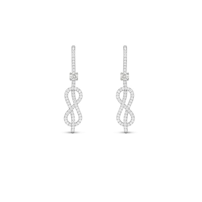 Savoy Knot Earrings, Platinum