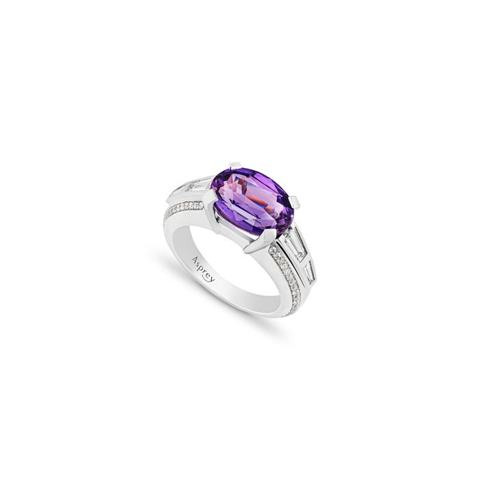 A-mount with Purple Sapphire and White Diamond Ring