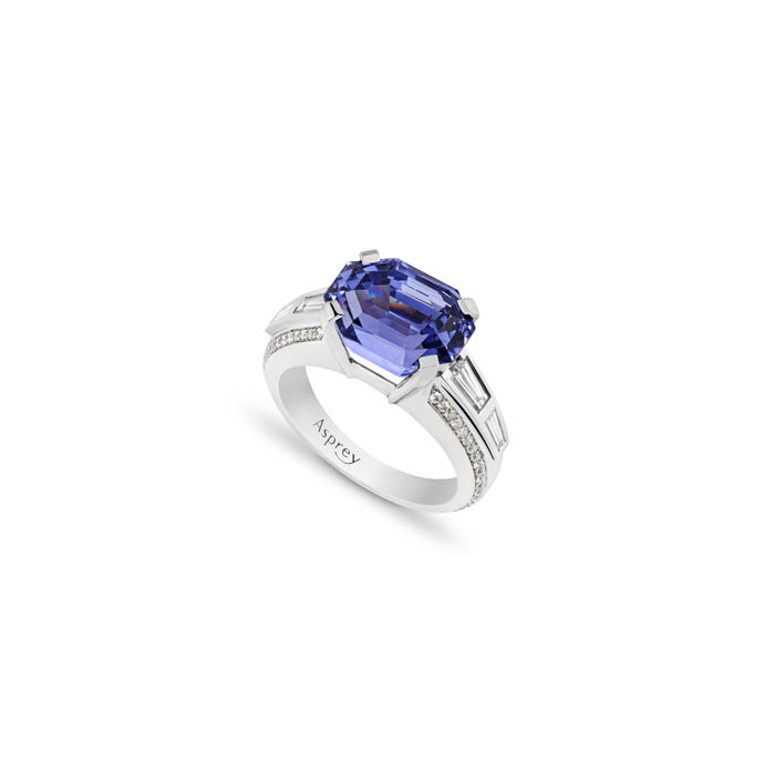 A-mount with Violet Sapphire and White Diamond Ring