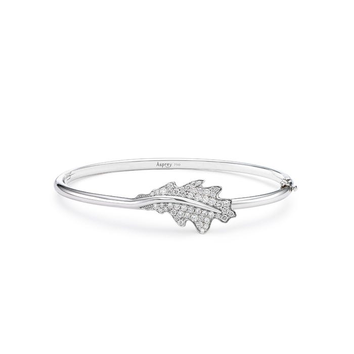 Single Oak Leaf Bangle, White Gold