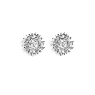Sunflower Medium Stud Earrings, White Gold