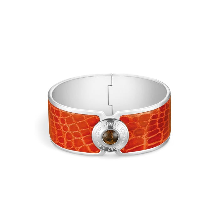 Bond Street Button Cuff 25mm in Crocodile & Palladium