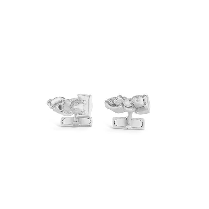 Lazy Bear Cufflinks, Silver