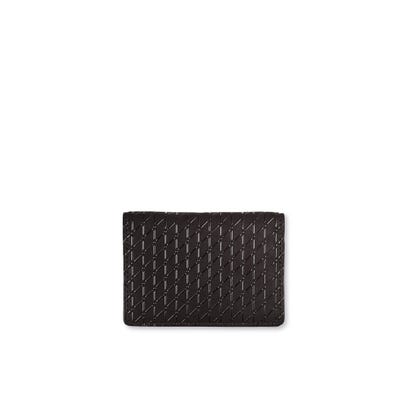 Flat Card case in Black Cross Hatch Leather