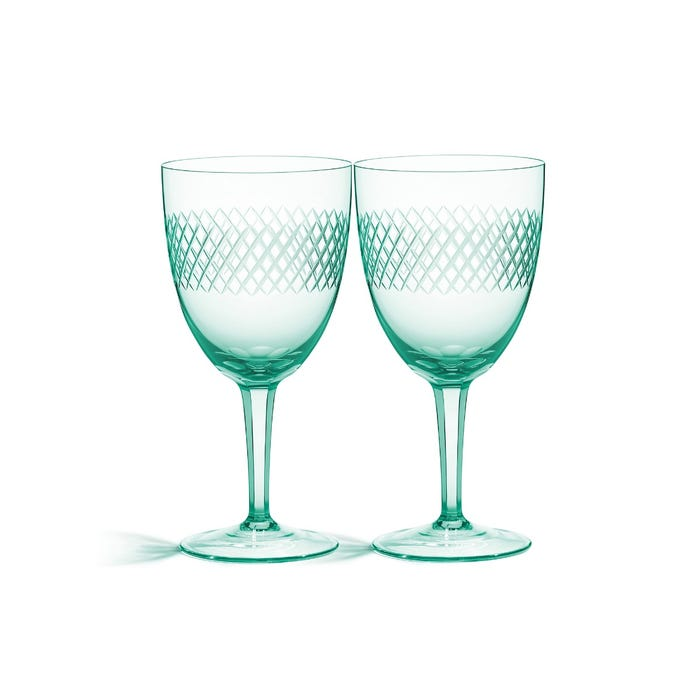 Crosshatch Red Wine Glasses Pair
