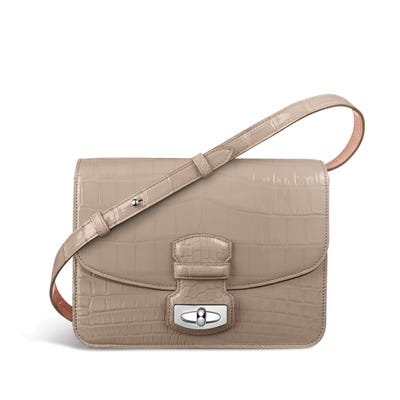 Wiltshire Shoulder Bag in Oyster & Rose Petal Crocodile