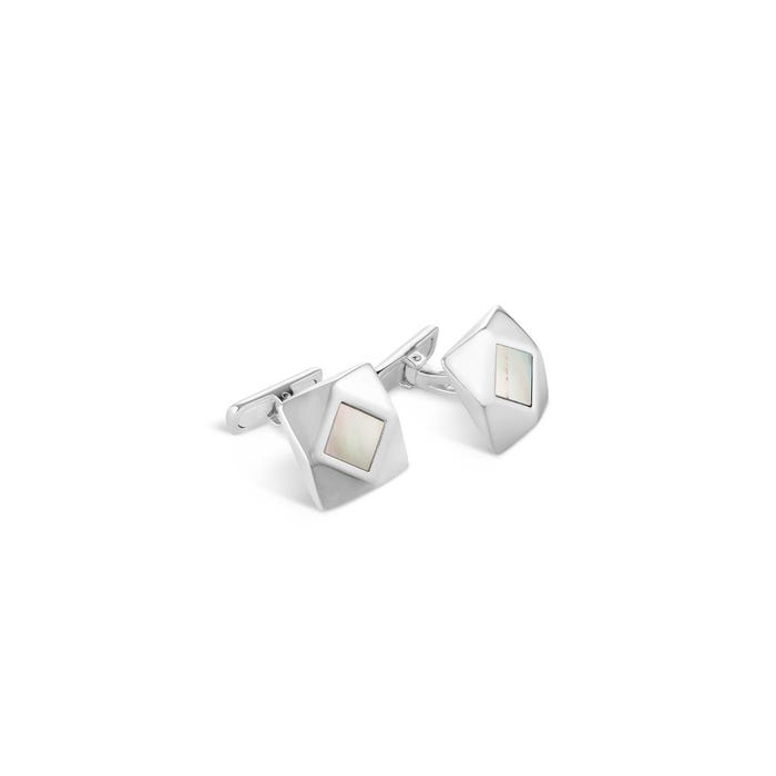 Geometric Cufflinks, Mother of Pearl & Silver