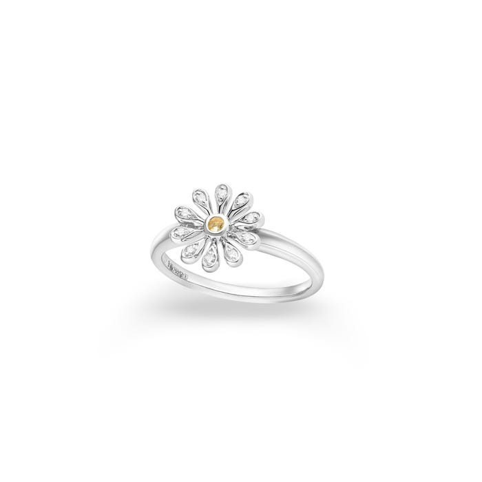 Mini Daisy Ring 18ct White Gold White Diamond, Silver