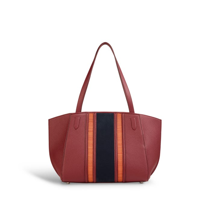 Harbour Tote Small in Marine, Cranberry & Flame Bullskin & Horsehair
