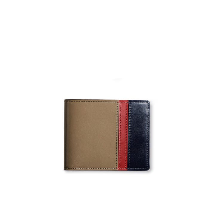 Hanover 6cc Billfold in Sage, Red & Marine Saddle Leather