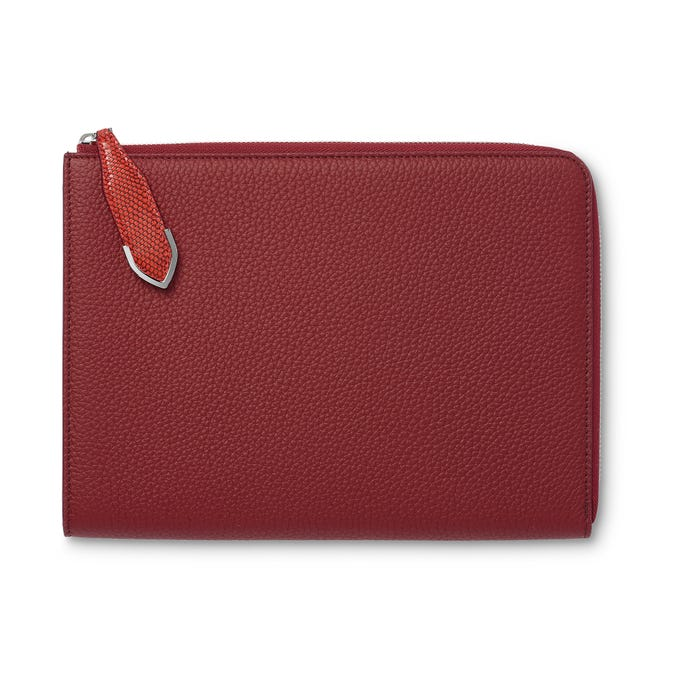 Taylor Zip iPad Pocket in Cranberry Bullskin & Flame Lizard