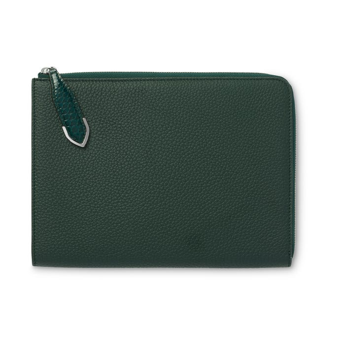 Taylor Zip iPad Pocket in Malachite Bullskin & Rangoon Python
