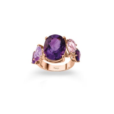 Colour Chaos Ring 18ct Rose Gold, Purple