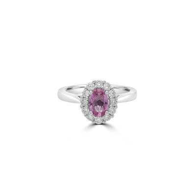 Oval Pink Sapphire and Diamond Ring mounted in Platinum