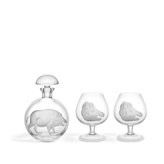 Boar Brandy Decanter Set