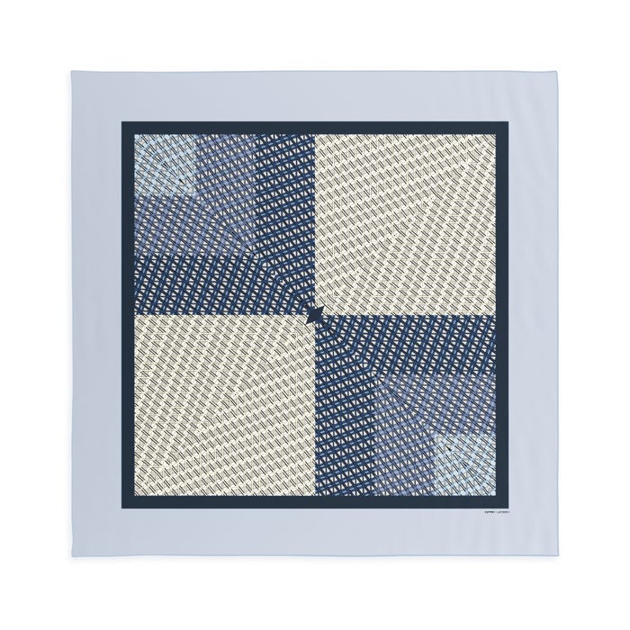 Initial Silk Scarf, Sea Blue