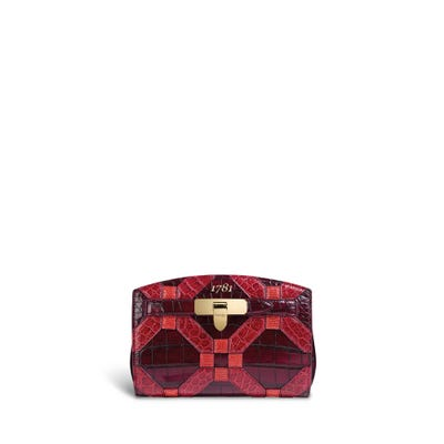 1781 Pochette in Cherry, Rosewood & Flame Crocodile & Lizard