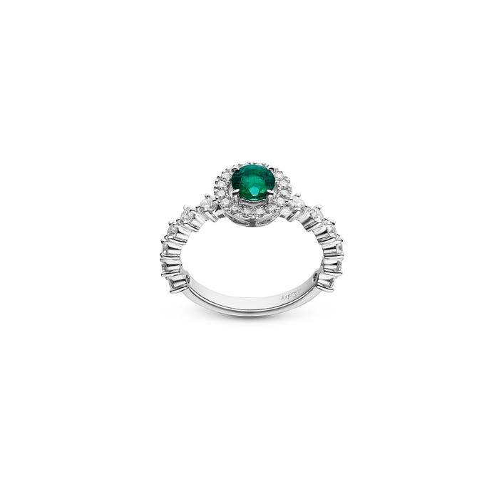 Emerald and Diamond Ring mounted in Platinum