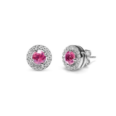Pink Tourmaline and Diamond Earrings mounted in Platinum