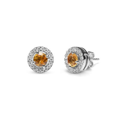Yellow Citrine and Diamond Earrings mounted in Platinum