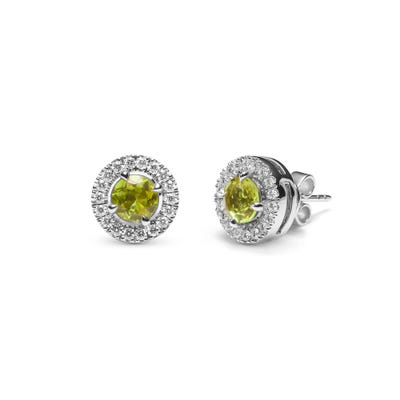 Green Peridot and Diamond Earrings mounted in Platinum