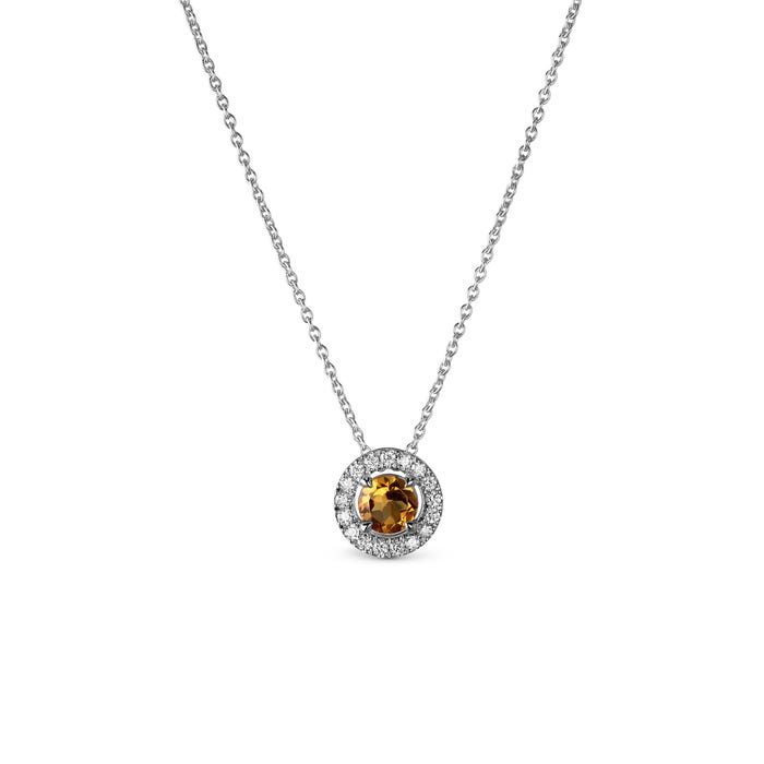 Yellow Citrine and Diamond Pendant mounted in Platinum