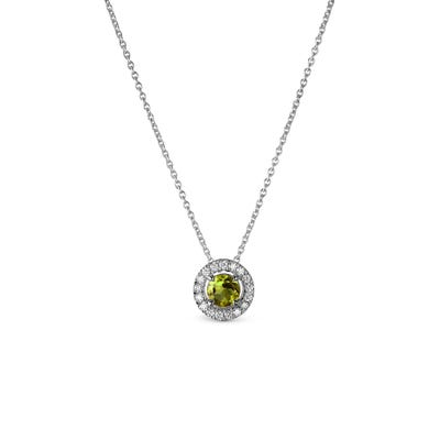 Green Peridot and Diamond Pendant mounted in Platinum